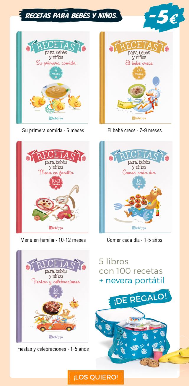 Colección Recetas para bebés y niños. 4 libros con 100 recetas, con 5€ de descuento + nevera portátil de regalo