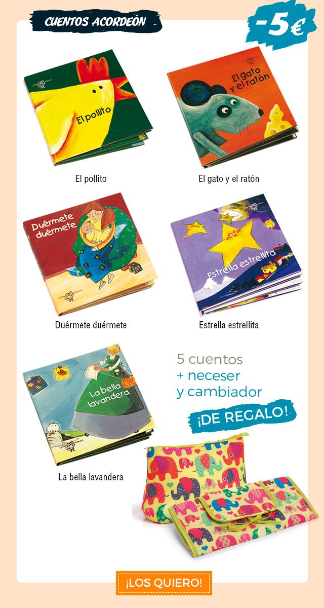 Colección de Cuentos Acordeón. 5 cuentos con 5€ de descuento + un neceser y un cambiador de regalo